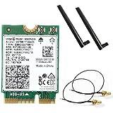第8世代Core iシリーズ専用(CNVi) Intel (インテル) Wireless-AC9560NGW 802.11ac wave2 (1,733Mbps 2x2 HT160) MU-MIMO & Bluetooth5 + 5dB 5GHz/2.4GHz ロッドアンテナ・アンテナケーブル セット