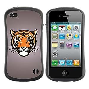 Be-Star Impreso Colorido Diseño Antichoque Caso Del iFace Primera Clase Tpu Carcasa Funda Case Cubierta Par Apple iPhone 4 / iPhone 4S ( Tiger Big Cat Crest )