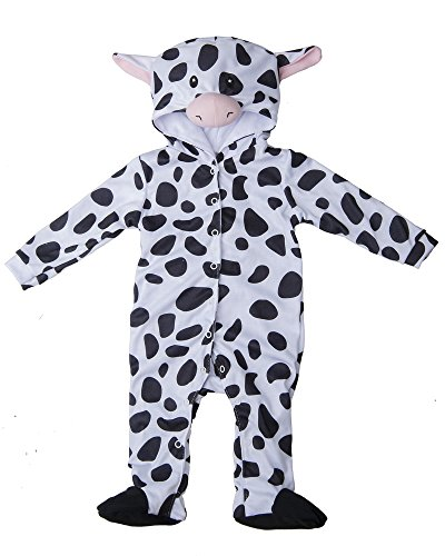 Halloween Costume Grandma Baby (Black White Cow Baby Polyester Knit Halloween Costume, Size)
