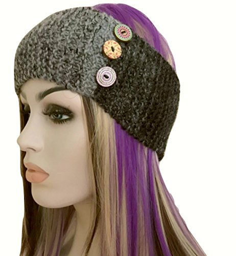 Grey Black Wool Headband Hand Knit with Buttons