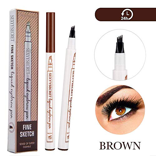 Eyebrow Tattoo Pen Microblading Eyebrow Pencil Tattoo Brow Ink Pen with a Micro-Fork Tip Applicator Creates Natural Looking Brows Effortlessly and Stays on All Day