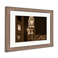 Ashley Framed Prints Boston Clock Tower Custom House Massachusetts, Wall Art Home Decoration, Sepia, 34x40 (Frame Size), Rustic Barn Wood Frame, AG6335470