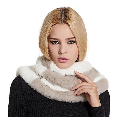 Women Real Rex Rabbit Fur Infinity Scarf Warm Shawl Scarves (White gray) - Fur Story