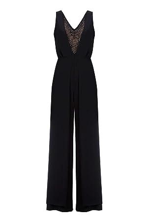 53167bb5ca9 Wallis New Womens Black Embellished Overlay Jumpsuit Size 10 12 14 16 18 (16)   Amazon.co.uk  Clothing
