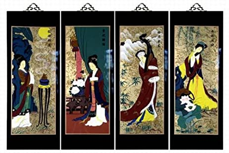 Amazon.com: Set Of 4 Oriental Lacquered Painting Wall Art Plaques ...