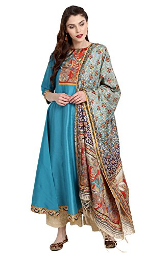 Janasya Indian Tunic Tops Poly Silk Kurti with Dupatta for Women (JNE2222-KR-479-DUPATTA-A-L) Blue