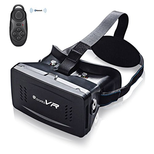 """Ctronics® 3D VR Glasses Google Cardboard VR Headset Virtual Reality Magnet Mobile Phone 3D Glasses for iPhone Samsung 3.5"""" to 6"""" Smartphone with Wireless Bluetooth Remote Controller as Free Gift"""
