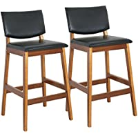 27H Counter Height Chair Bar Stools Moden Wine Furniture Pub Bar Set of 2,Wood (stools)