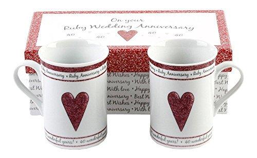 40th Ruby Wedding Anniversary Gift Set Ceramic Mugs By Haysom Interiors ()