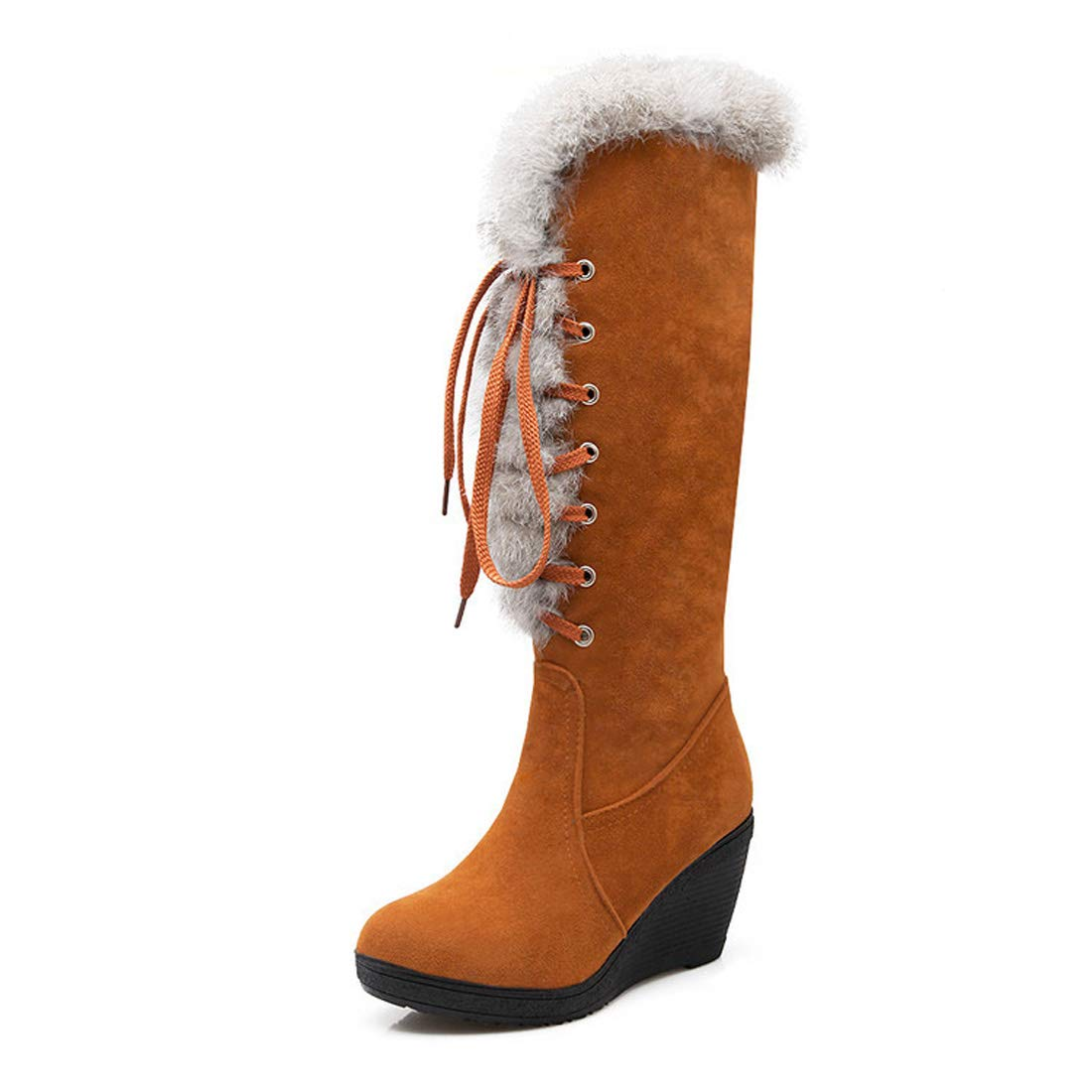 DANDANJIE Damen Kniehohe Stiefel Stiefel Stiefel Keilabsatz Lace-up Fashion Stiefel Schuhe für 2018 Herbst Winter 1b487e