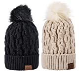 Women Winter Pom Pom Beanie Warm Fleece Lined Slouchy Beanie 2pc (Small Image)
