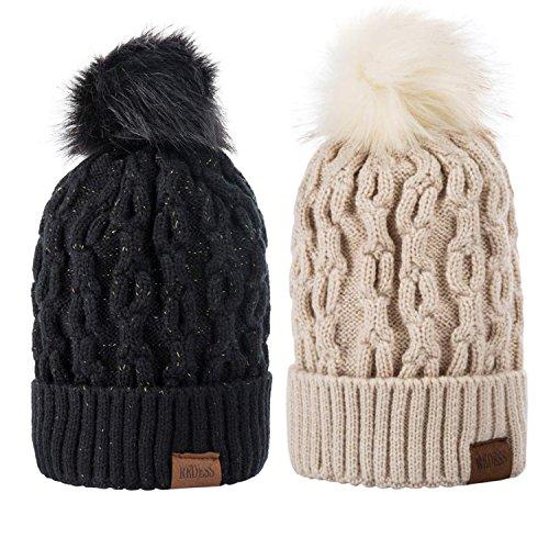 Women Winter Pom Pom Beanie Warm Fleece Lined Slouchy Beanie 2pc (Large Image)