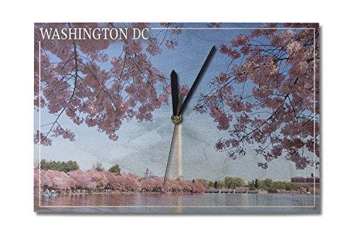 (Lantern Press Washington Monument and Cherry Blossoms - Washington DC (10x15 Wood Wall Clock, Decor Ready to Hang))