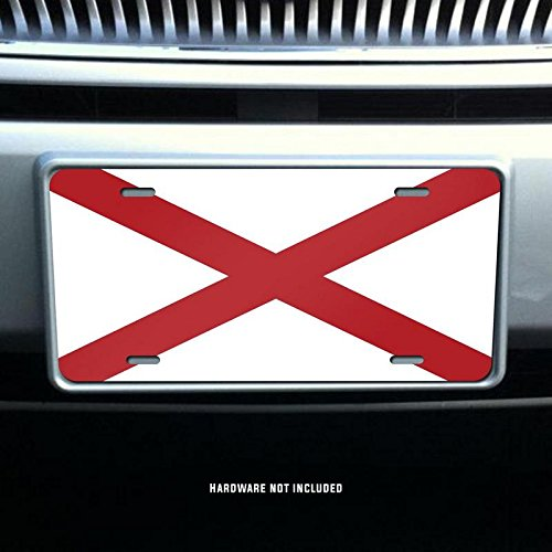 Alabama State Flag Vanity Front License Plate Tag Printed Full Color KCFP001