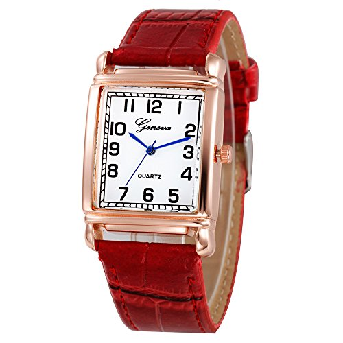 Women's Watches Clearance Sale,Selinora Womens Luxury Casual Fashion Checkers Faux Leather Quartz Analog Wrist - Gold Plated Wrist White Watch