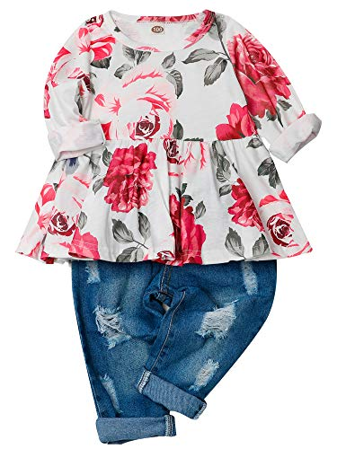CARETOO Girls Clothes Outfits, Cute Baby Girl Floral Long Sleeve Pant Set Flower Ruffle Top -