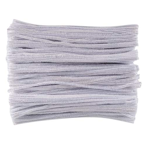 Deoot 600 Pieces White Chenille Stems Pipe Cleaners 6 mm x 12 Inch for DIY Art Supplies ()