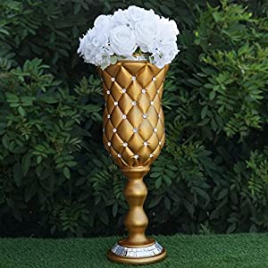 "BalsaCircle 6 pcs 24"" Tall Gold Vases with Crystal Beads for Wedding Party Flowers Centerpieces Home Decorations Bulk Supplies 3"