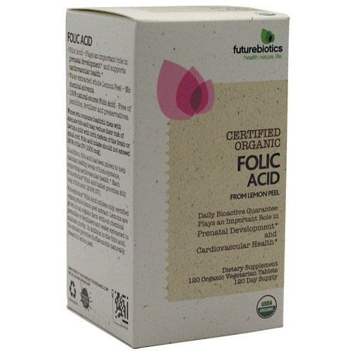Futurebiotics Folic Acid 800mcg from Organic Lemon Peel USDA Certified Organic, 120 Vegetarian Tablets ()