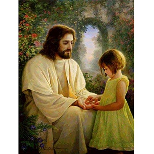 Religious Cross Stitch Patterns - 24x34cm Mosaic 5D DIY Diamond Painting Religious Jesus and Girl Icons Home Decorative Diamond Embroidery Full Crystal Mural