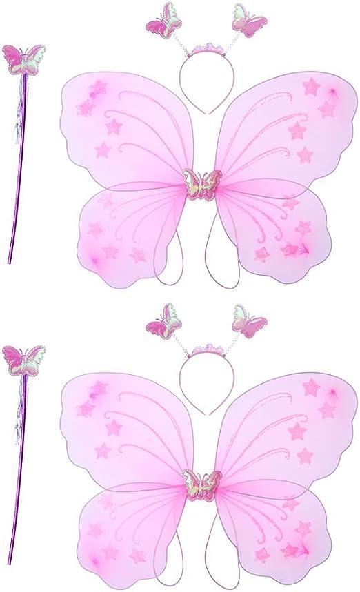 Amosfun 6 Piezas Disfraz de alas de Mariposa con Varita mágica de ...