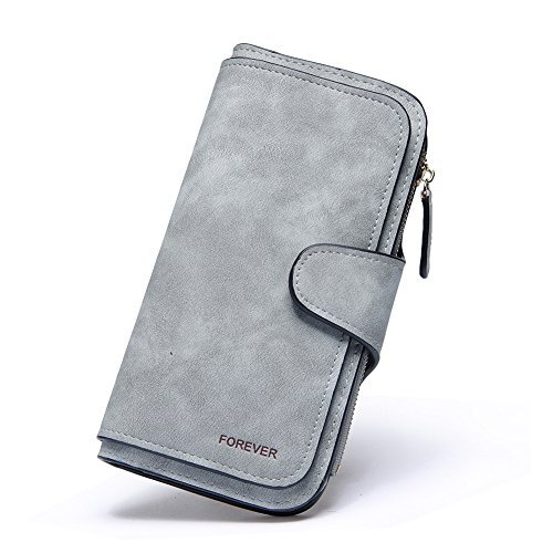 RFID Blocking Mattee Leather Wallet for Women Clutch Purse Bifold Long Designer Ladies Checkbook Multi Credit Card Holder Organizer with Coin Zipper Pocket gray