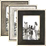 Tasse Verre 5x7 Rustic Frames (3-Pack) - Distressed Farmhouse Industrial Frame - Ready to Hang or Stand - Built-in Easel - Silver Galvanized Metal Look with Wood Insert