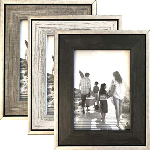 5x7 Rustic Frames (3-Pack) - Distressed Farmhouse Industrial Table Frame - Ready to Hang or Stand on Tabletop- Built-in Easel - Silver Galvanized Metal Look with Wood Insert