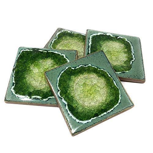 Dock 6 Pottery Geode Fused Glass Coasters, Jungle, Set of 4
