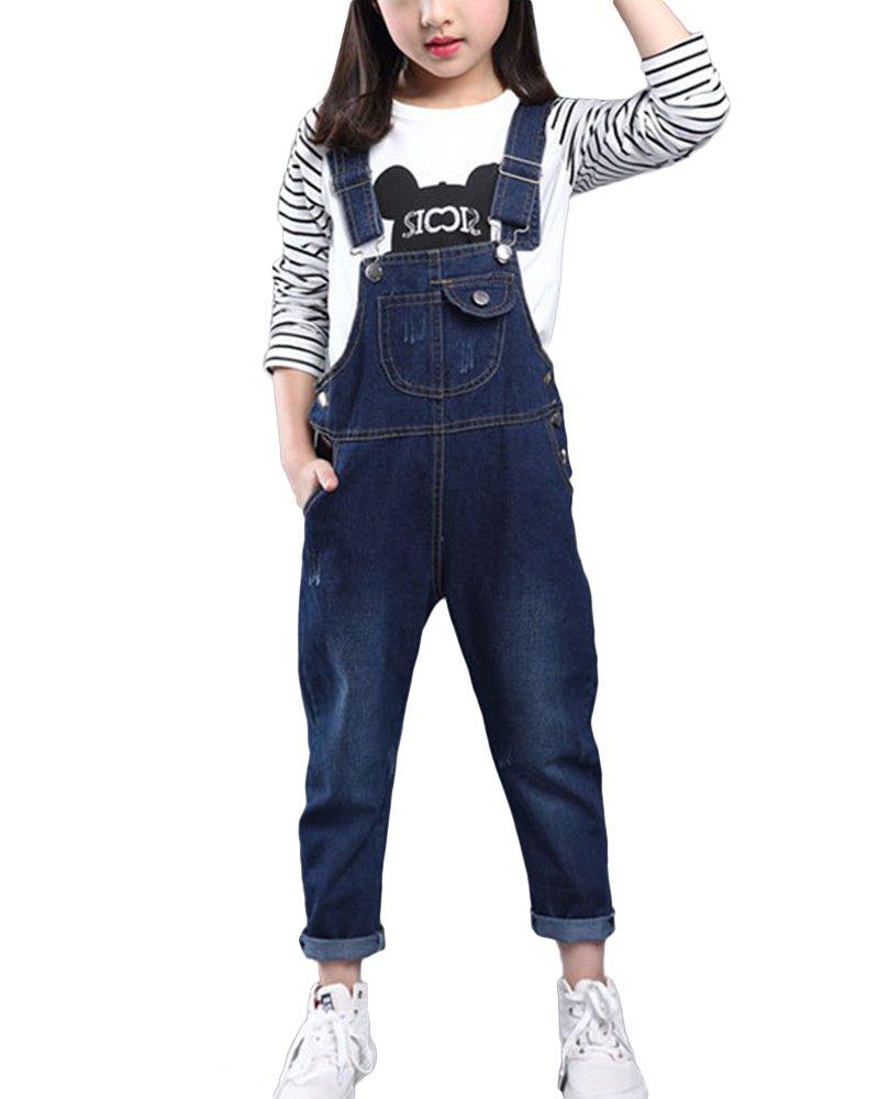 Mädchen Kinder Latzhose Freizeit Jumpsuit Loose Ärmellose Overall Jeans Lange