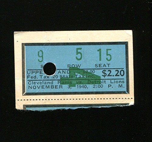 1940 Cleveland Rams v Detroit Lions Ticket NFL 25431