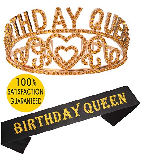 Birthday Girl Sash and Tiara Gold | Birthday QUEEN Sash and Crown | Happy Birthday Party Supplies| Favors, Decorations 13th, 16th, 21st, 30th, 40th, 50th, 60th, 70th, 80th, 90th Birthday Gold ()