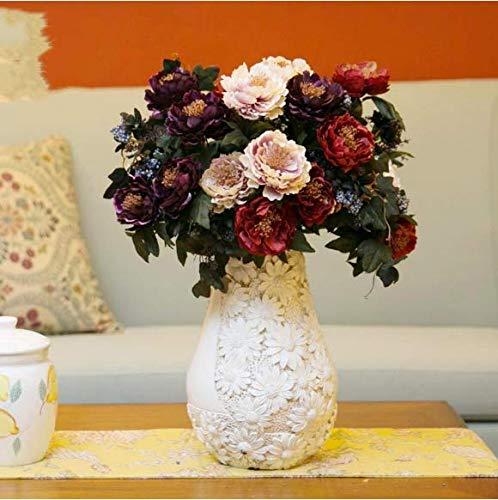 Simulation 11pcs Peony Flower Arrangement Silk Flower Fake Flower Decoration Flower Living Room Bouquet Indoor Table Flower Floral Decoration