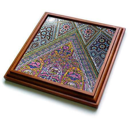 3dRose Danita Delimont - Islamic Architecture - Central Iran, Shiraz, Nasir-Al Molk Mosque, Exterior Tilework - 8x8 Trivet with 6x6 ceramic tile (trv_312737_1)