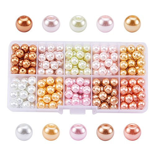 Pandahall 1 Box (About 250pcs) 10 Color Glass Pearl Round Beads Assortment Lot for Jewelry Making, 8mm, Hole: 1mm - Mixed Color 3 - Pearl Colored Beads