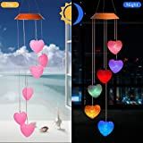 CXFF Heart Shaped LED Solar Wind Chimes Outdoor - Waterproof Solar Powered LED Changing Light Color Mobile Romantic Wind-Bell Six Pink Heart-Shaped Wind Chimes For Home, Party, Night Garden Decoration