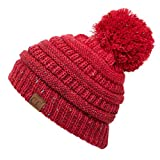C.C Exclusives Ribbed Confetti Knit Ombre Pom Beanie Hat for Women Men (Red Pom)
