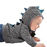 WUAI Baby Clothes Infant Toddler Unisex Dinosaur Pattern Hooded Zipper Tops(Dark Grey,12-18 Months)