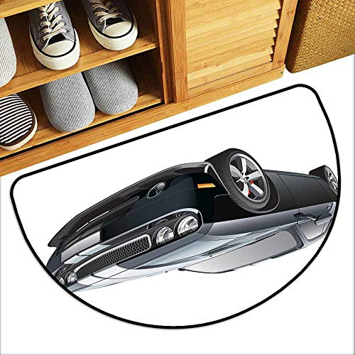 DILITECK Non-Slip Door mat Cars Black Modern Pony Car with White Racing Stripes Coupe Motorized Sport Dragster Hard and wear Resistant W36 xL24 Black Grey ()