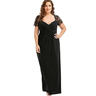 caadfc75e207 Anxinke Women Plus Size Lace Short Sleeve V-Neck Empire Waist Long Formal  Dress (