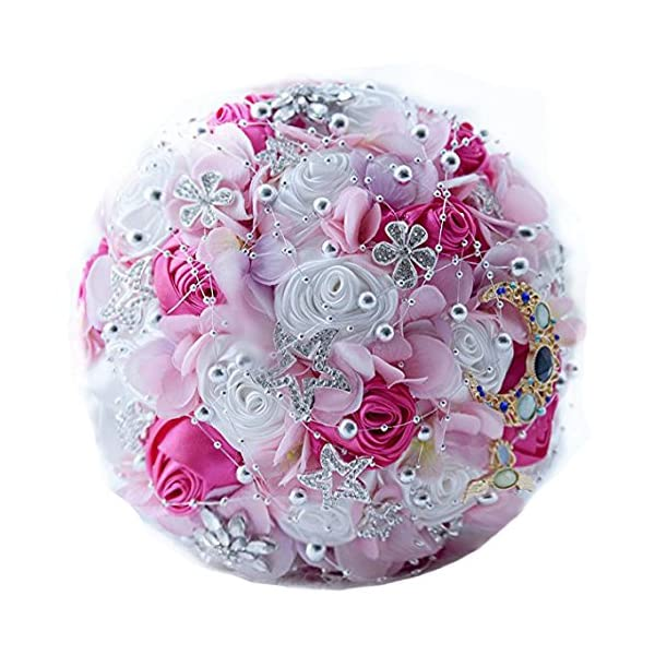 "Zebratown 11"" Artificial Rose Romantic Galaxy Wedding Bouquet Wedding Flowers Crystal Pearls Bouquets Bridal Bouquets (Pink)"