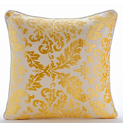 Handmade Mimosa Yellow Pillow Cases, Golden Yellow Damask Pillows Cover, 16