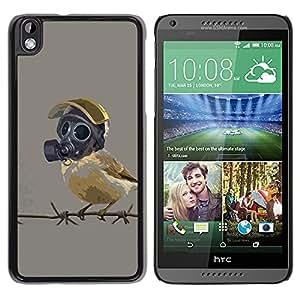 // PHONE CASE GIFT // Duro Estuche protector PC Cáscara Plástico Carcasa Funda Hard Protective Case for HTC DESIRE 816 / Pájaro en máscara de gas /