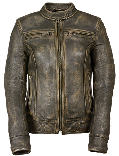 LADIES BROWN DISTRESSED SCOOTER JACKET WITH VENTING