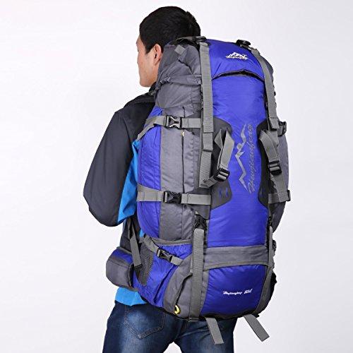 HWJIANFENG 80L Mochilas de Acampada Multifuncional Mochilas de Senderismo de Nailon Impermeable Mochilas de Ciclismo para Viajes Unisex,color Azul azul