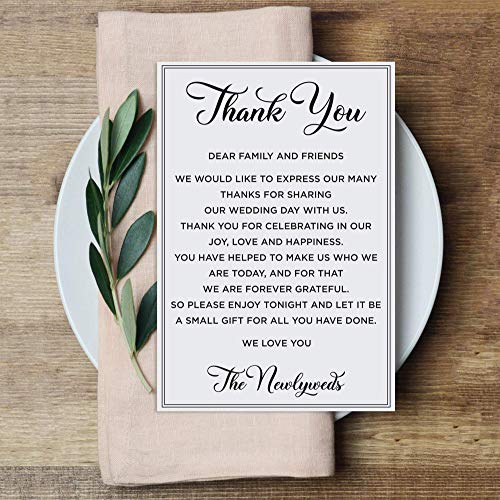50 Pcs Wedding Thank You Place Setting Cards, Black and White Printed Thank You Cards for Table Centerpieces and Wedding Reception Decorations