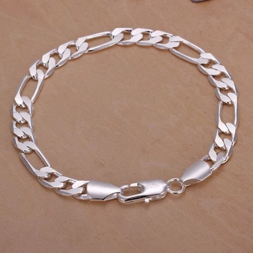 (Jewelryongying11 Solid 925 Silver Men's Women's Italian Classic Link Chain Bangle Bracelet Gifts)