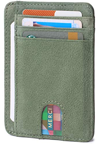 Credit Card Billfold - Slim Minimalist Credit Card Holder Front Pocket RFID Blocking Leather Wallets for Men & Women (Nubuck Green)