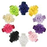 Qandsweet Baby Girl's Beautiful Headbands Elastic Hairband for Photograph (Snow Yarn Flower 10 Pack)