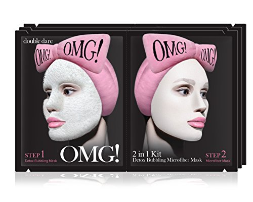 double dare OMG! 2in1 Kit Detox Bubbling Microfiber Mask - Detoxifying and Moisturizing with Carbonated Bubbles (3 Sheets)